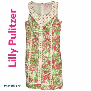 Lilly Pulitzer fitted dress lined pink/lime colors